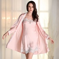 Wholesale Sleep Gown Robe - Wholesale- Women Dress Silk Robes Gown Sets Sexy Lace Female Lingerie Set Women's Sleepwear Nightwear 2 Pieces Sleep Suits Ladies