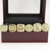 Wholesale Wooden Ring Jewelry Box - 6PCS With Wooden box display case Men fashion sports jewelry La kers championship rings fans souvenir gift