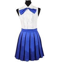 Wholesale fairy tail erza scarlet cosplay resale online - Fairy Tail Erza Scarlet Daily White Blue Dress cosplay costume