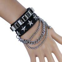 Wholesale Gothic Handmade Leather Bracelets - Handmade Unisex Cool Punk Rock Gothic Stars Chain Link Wristband Bangle Zinc Alloy Leather Bracelet G1