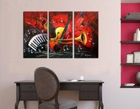 Wholesale Musical Art - Art Paintings, Musical Instruments Hand Painted Modern Oil Paintings On Canvas Wall Art Set of 3 for Living Room Home Decor