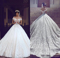 Wholesale dubai sexy wedding dresses resale online - Saudi Arabic Dubai Luxury Short Sleeves Wedding Dresses Off Shoulder Appliques Backless with Sweep Train Bridal Gowns Robe de marriage