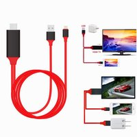 Wholesale Av Tv Iphone - Hot sale MHL hdmi cables HDMI HDTV AV TV USB Cable 1080P Adapter for iPhone ipad bigger screen 2M cable with retail box