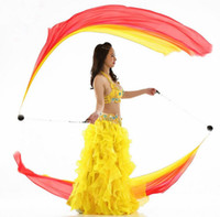 Wholesale Belly Dance Veil Poi - 2pcs Real Silk Veil POI Streamer Thrown Balls Belly Dancer Stage Performance Props Bellydance Costume Accessory