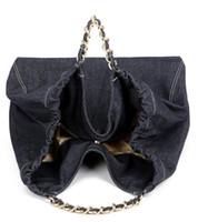Wholesale Protection Bar - Denim Shopping Bag Environmental Protection Big Beach Bags Ladies Casual Canvas Chain bars Bags Fashion Storage Shoulder Bag