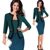 Womens Autunno Retro Faux Jacket One-Piece Polka Dot Contrast Patchwork Indossare per lavorare Office Business Sheath Dress