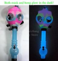 Wholesale Glow Masks - Gas Mask Bong Both Glow in the Dark Water Shisha Acrylic Smoking Pipe Sillicone Mask Hookah Tobacco Tubes Free Shipping Wholesale