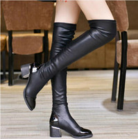 Bottes En Talon Épais Pas Cher-2017 Printemps Mode Cuir en cuir sur les bottes au genou Femmes Sequined Toe Elastic Stretch Thick Heel Thigh High Riding Boots pour l'hiver
