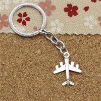 Wholesale Airplane Chrome - 15pcs Fashion Diameter 30mm Chrome plate Key Ring Metal Key Chain Jewelry Antique Silver Plated airplane plane 27*21mm Pendant