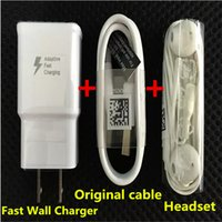 Wholesale Micro Usb 2a Ac - 5V 2A US EU AC Plug 100% fast wall Charger adapter + Micro 1.2m USB Data Cable + earpone headphone headset For Samsung Galaxy S7 S6 note 5