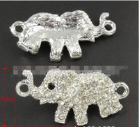 Wholesale Handmade Bracelets Connectors - 20pcs lot hot New alloy diy handmade silver plated color elephant rhinestone two hole connector fit necklace bracelet jewelry accessories