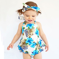 Wholesale Dress Baby Band Flower - 2017 New baby INS flower Rompers Girls Cotton Flower romper dress +Hair band+PP pants 3pcs sets baby clothes 0-2years