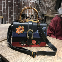 Wholesale Birds Tote - 2017 Vintage High Quality Women Handbag Fashion Women Designer Handbags Embroidery Leather Women Birds Shoulder Bag Bamboo Messenger Bags