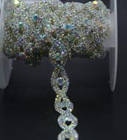 işçilik için boncuklar toptan satış-Yeni! 1 yard / lot kristal AB gümüş Ton taklidi boncuk trim güzel çiçek zincir dikiş zanaat