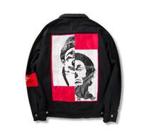 Wholesale Black Floral Jeans - palace Jeans Jacket Men Denim Coat Hip Hop Kanye yeezus Jacket Mens sup Brand Clothes Cotton Jean Jackets off white