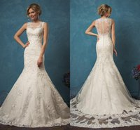 Wholesale Sleeveless Wedding Dresses Pictures - 2017 Amelia Sposa Mermaid Wedding Dresses Vestidos De Noiva Sheer Neck Appliques Lace Back with Button Sweep Train Bridal Gowns Custom Made