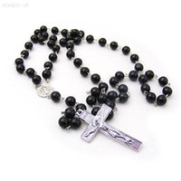 Wholesale Wholesale Men Bead Cross Necklaces - Necklaces Men Women Cross Pendant Black Rosary Beads New Fashion Statement Necklace Beckham Body Women Men Cross Chains Necklaces & Pendants