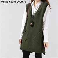 Wholesale Dress Medium Sleeves - Wholesale- sweater autumn medium-long sleeveless one-piece dress Sweater female V-neck vest knitted