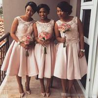 online Shopping Lace Short Beach Wedding Dress - Cheap Blush Pink Lace Short Bridesmaid Dresses 2017 African Beach Maid of Honor Gowns Junior Formal Wedding Guest Formal Wear Tea Length