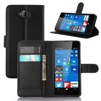 Wholesale Touch Pen For Lumia - For Microsoft Lumia 650 Fashion Litchi Pattern TPU Leather Wallet Stand Case Cover with Card Slot+Free Touch Pen