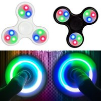 Wholesale figit toys for sale - Group buy 10pcs New Fashion Tri Hand Finger Spinner Figet D Figit with LED light Spin Pocket EDC Toys
