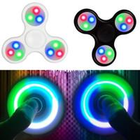 Wholesale Figit Toys - 10pcs lot New Fashion Tri Hand Finger Spinner Figet 3D Figit with LED light Spin Pocket EDC Toys