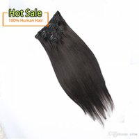 """Wholesale European Clip Remy Hair - Clip in hair extension #2 color 18 """"-24"""" 100% Brazilian Remy Hair Extensions 8pcs set Full Head Clips In On Hair extensions"""
