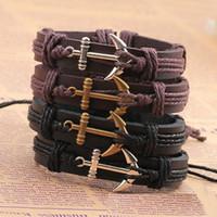 Wholesale boat anchor bracelet - Genuine Leather hook boat anchor bracelets adjustable wristband bangle cuffs for women men punk jewelry Gift