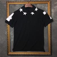 polo kısa kollu gömlek toptan satış-2017 moda marka giyim erkekler kısa kollu t-shirt nakış 3D yıldız boyun turn-down yaka etiketi polo pamuk tee tops