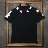 ingrosso collo collo superiore-T-shirt manica corta da uomo 2017 abbigliamento moda marchio ricamo 3D stella collo girocollo colletto in cotone polo tee top