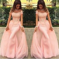 Wholesale Sweep Train Chiffon Off Shoulder - Long Evening Dresses 2017 Mermaid abendkleider Lace Pink Formal Prom Dress Arabic Evening Gowns robe de soiree
