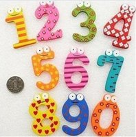Wholesale Children s Christmas Creative gifts Kids wooden toys magnetic stickers Arabic numbers fridge magnets for childrendandys WD095AA