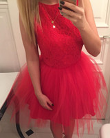 Wholesale Semi Jewels - Cheap A-line Short Red Lace Homecoming Dresses Tulle Semi Formal Dress Sweet 16 Girls Junior Dresses for Graduation Party Cocktail Dresses