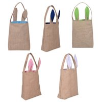 Cloth material wholesale online wholesale distributors cloth easter bunny bags dual layer rabbit ears design jute cloth material carrying eggs gifts for festival party negle Images