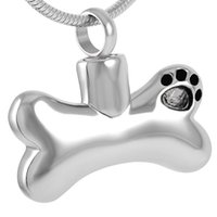 Wholesale Stainless Steel Necklace High Polished - IJD8085 Memorial Jewelry Urn High Quality Polishing Dog Paw Print Bones Cremation Ashes Keepsake Pendant Necklace Free Shipping