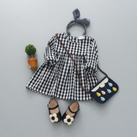 Wholesale Baby Doll Sleeves Dress - Autumn girls dress doll dresses long sleeve baby girl dress black and white lattice lattice dresses shirt dress for kids