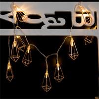Wholesale Led String Diamond Lights - Metallic Diamond Shaped LED String Light with 10 Lamterns on 1.65M Garland Wedding Decoration Interior design Christmas lights
