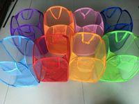 bolsas de lavandería de calidad al por mayor-Lavado de la cesta de lavandería Tela de malla Plegable Pop Up Bolsa Contenedor de la canasta de almacenamiento Para el mantenimiento de la casa Uso Cestas de almacenamiento de calidad superior