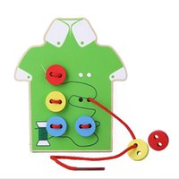 Jouets éducatifs pour enfants Peluches pour enfants Lacing Board Jouets en bois Sew On Button Early Education Teaching Livraison gratuite