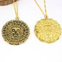 Wholesale Aztec Gold - Pirates of The Caribbean Necklace Jack Sparrow Aztec Coin Medallion Vintage Gold And Bronze Pendant Johnny Depp wholesale