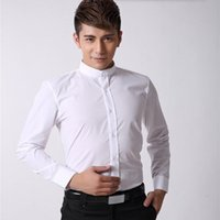 Wholesale Shirt Tailor - Chinese style men shirt mandarin collar business shirt white tailor made slim fit groom wedding dinner tuxedo shirt
