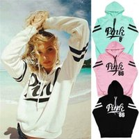 Wholesale Pink Womens Clothing - New Women Long Sleeve Hoodie Sweatshirt Sweater Casual Hooded Coat Pullover Pink Print Hoodies Sport sweater fleeces Hoody Womens Clothing