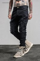 Wholesale Men S Denim Harem - Wholesale high quality off white embroidery jeans Ripped Denim Knee Hole Zipper mens harem pants Destroyed Torn joggers Biker fear of god