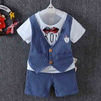 Wholesale Toddler Waistcoat Set - Baby Boys Clothes stripe gentleman suit bow tie waistcoat T shirt Tops+Shorts pants Infant set Kids Outfits Toddler Clothes baby wear A648