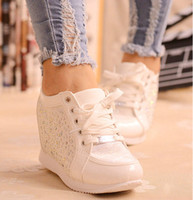 Wholesale Lace Up Hidden Wedge - Black White Free Shipping Hidden Wedge Heels Fashion Women's Elevator Shoes Casual Shoes For Women wedge heel Rhinestone