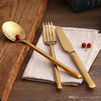 Wholesale Sets Steak Knife Fork Spoon - Tableware Set Gold Plated Stainless Steel Dishware Steak Knife Fork Scoop Four Piece Suit High Grade Gift 13 5rc H1 R