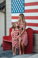Wholesale Red 12 Mo Dresses - Mother and daughter's America flag vest dress classic sleeveless tassels striped dress family matching Independence Day clothing