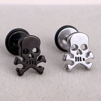 Wholesale Skull Ear Studs - Fashion Punk Pirate Skull Ear Studs Stainless Steel Silver Black Gothic Skull Screw Stud Earrings Brincos Jewelry For Cool Men