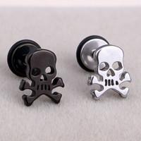 Wholesale Skull Earrings For Men - Fashion Punk Pirate Skull Ear Studs Stainless Steel Silver Black Gothic Skull Screw Stud Earrings Brincos Jewelry For Cool Men