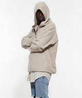 sudaderas con capucha urbanas al por mayor-Venta al por mayor- Hombre medio cremallera Pullover Sudadera con capucha Sherpa Streetwear Fresco Kanye West Moda Hip Hop Ropa urbana Justin Biebers Tyga